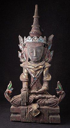 Oude houten Shan Boeddha