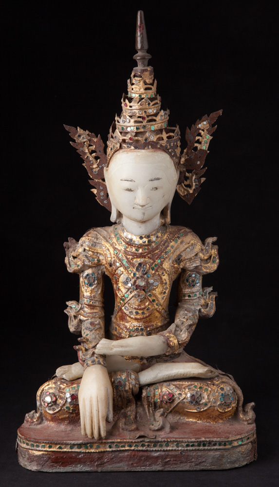 Antique Burmese Buddha with crown from Burma made from Wood