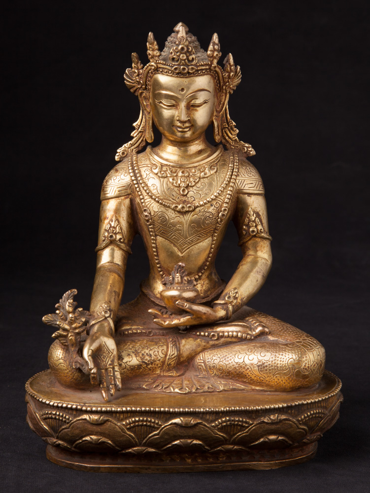 Crowned bronze Medicine Buddha statue from Nepal