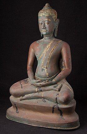Old bronze Thai U-Thong Buddha statue