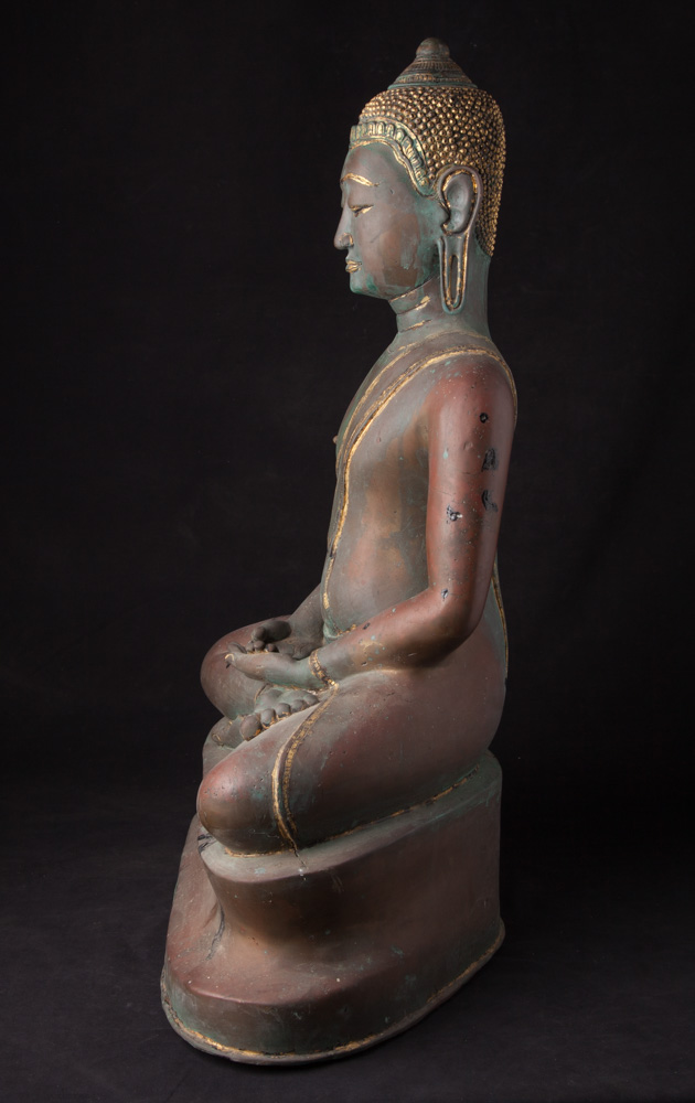 Old bronze Thai U-Thong Buddha statue from Thailand made from Bronze