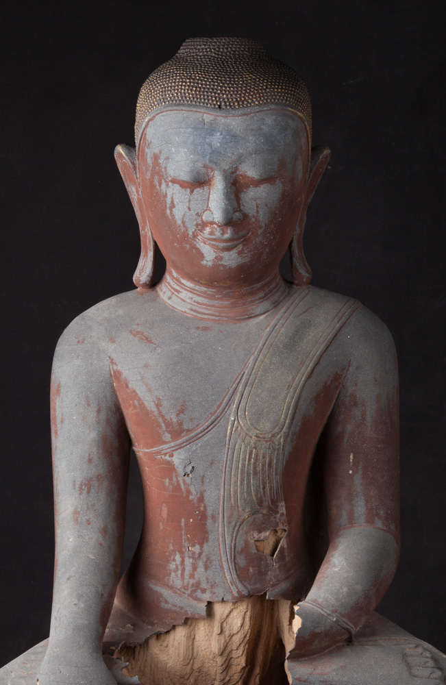 Original wooden Pagan Buddha statue from Burma made from Wood