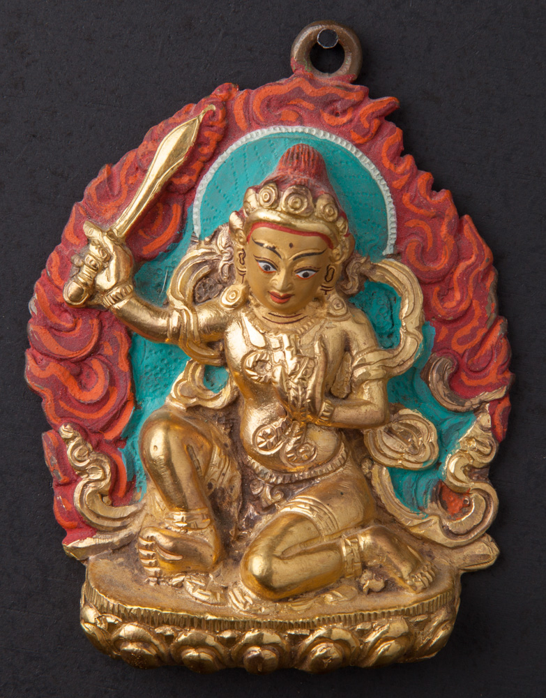 Old bronze Manjushri statue from Nepal