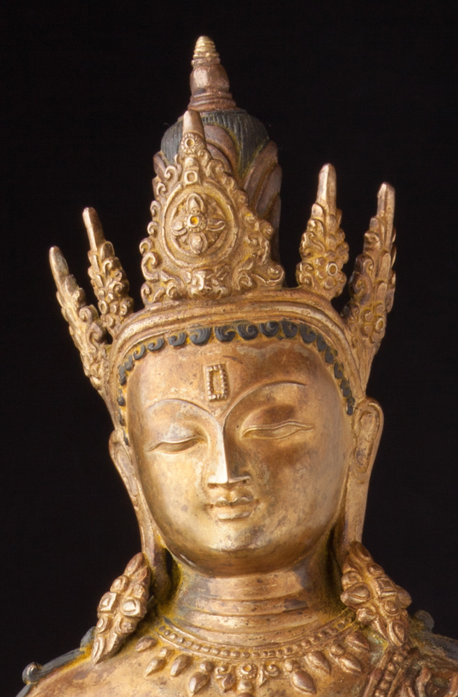 Old Nepali Bodhisattva statue from Nepal made from Bronze