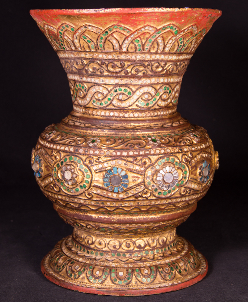Antique Burmese Vase from Burma made from lacquer