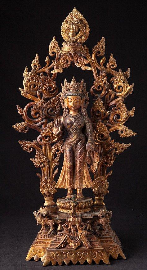 Large old Nepali Maitreya Buddha statue