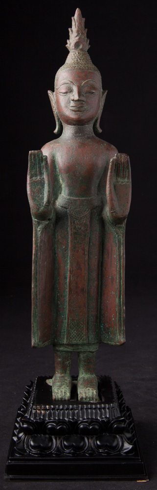 Antique bronze Laos Buddha statue from Laos