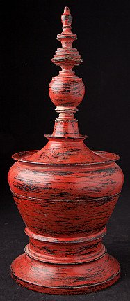 Old red painted offering vessel