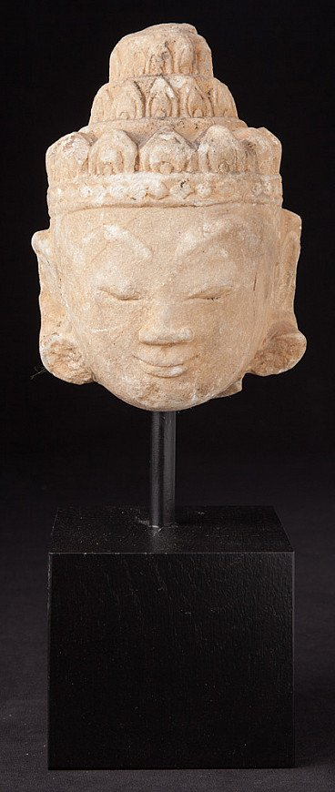 Antiek alabaster Boeddhahoofd