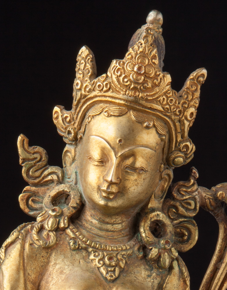 Old bronze Tara statue from Nepal made from Bronze