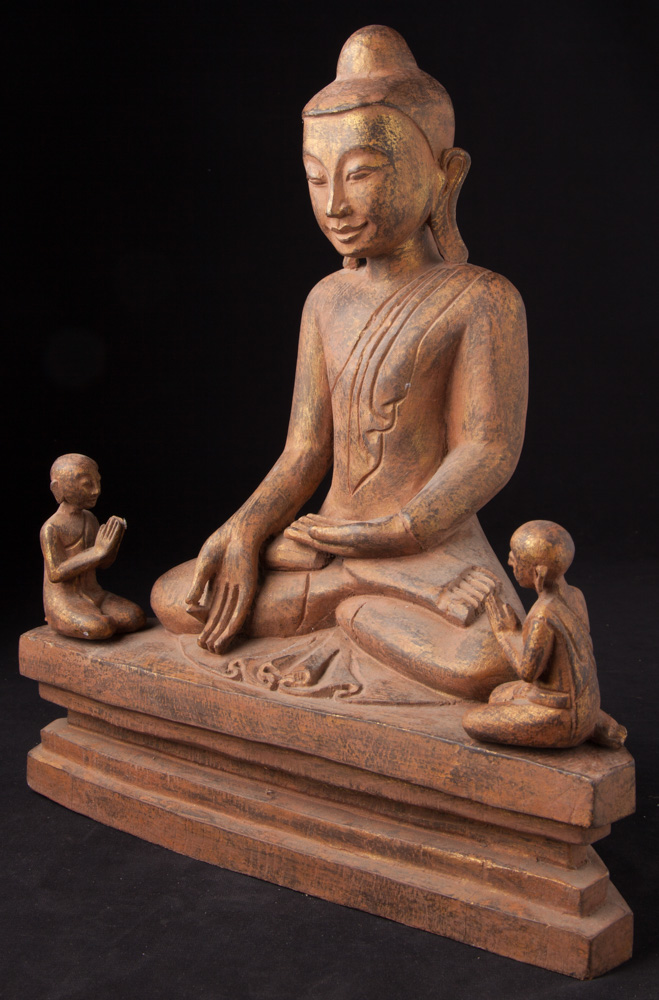 Wooden Buddha with 2 monk statues from Burma made from Wood