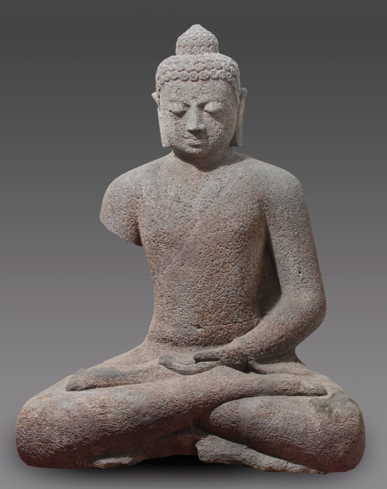 Special 9th century lavastone Buddha statue from Indonesia made from Lavastone
