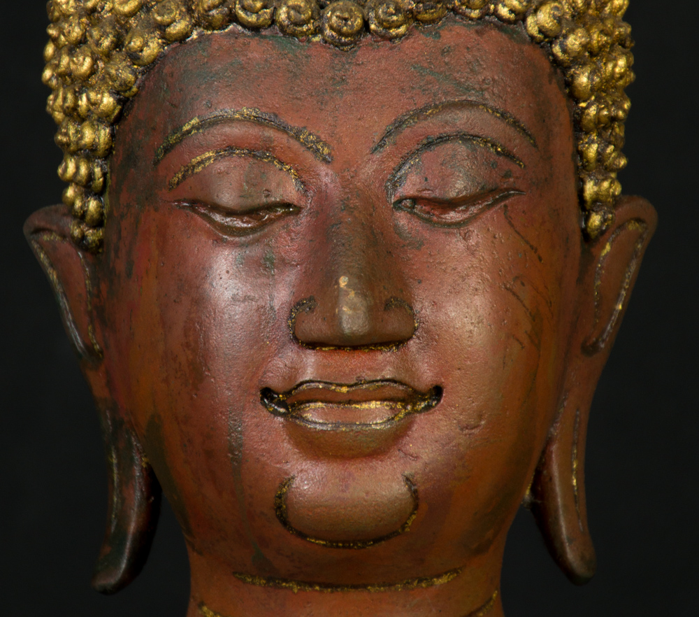 Old bronze Lanna Buddha statue from Thailand made from Bronze