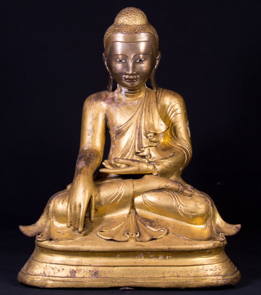 Antique bronze Mandalay Buddha statue from Burma