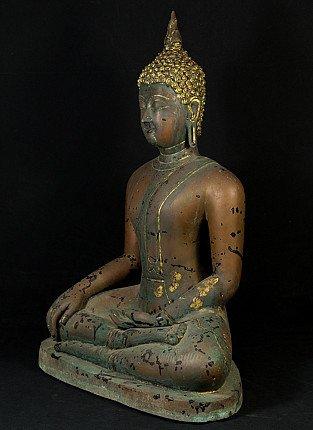 Old bronze Sukhothai Buddha statue
