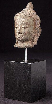 Antiek Birmees bronzen Boeddhahoofd