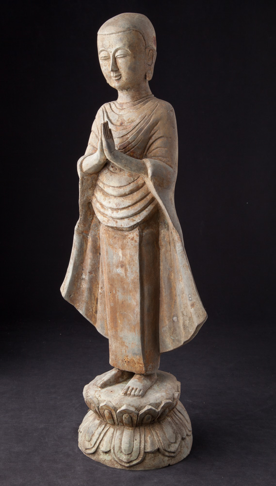 Old bronze standing monk statue from Burma made from Bronze