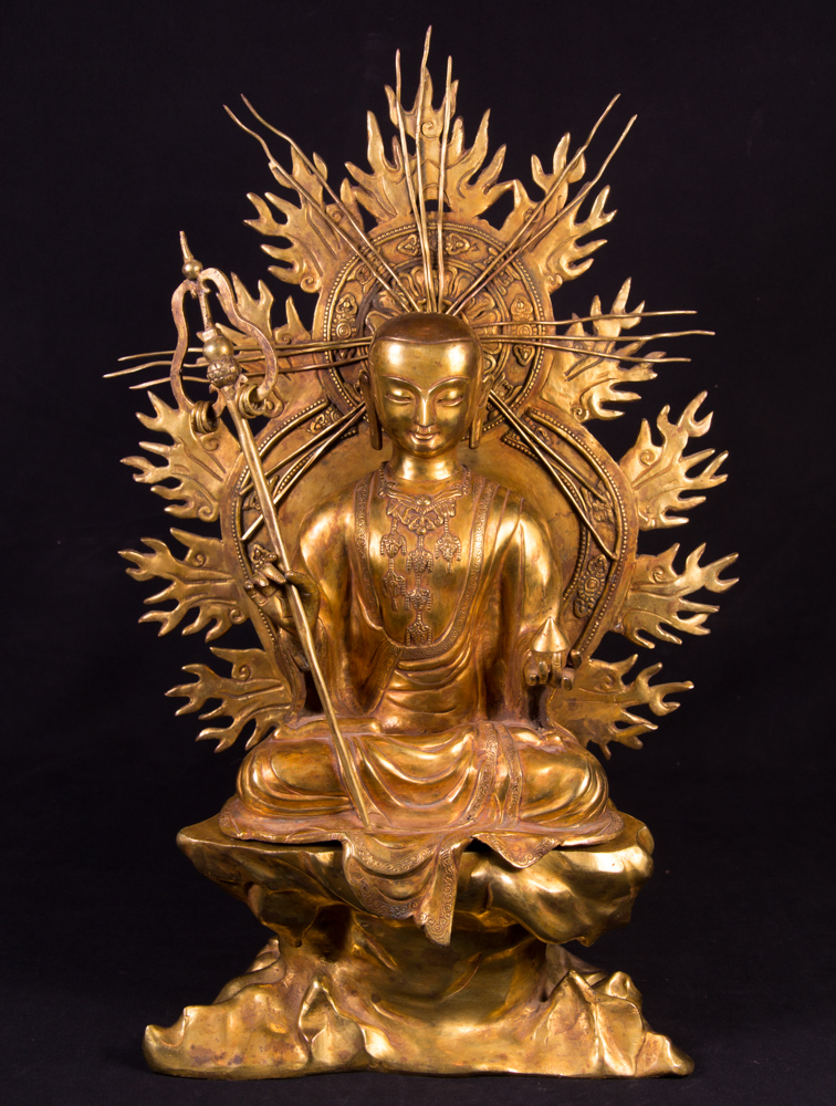 Old Tibetan Lama statue from Nepal made from Bronze