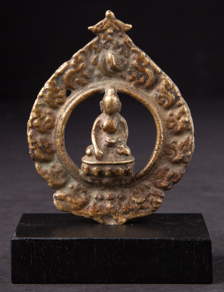 Antique Nepali Buddha statue on base from Nepal