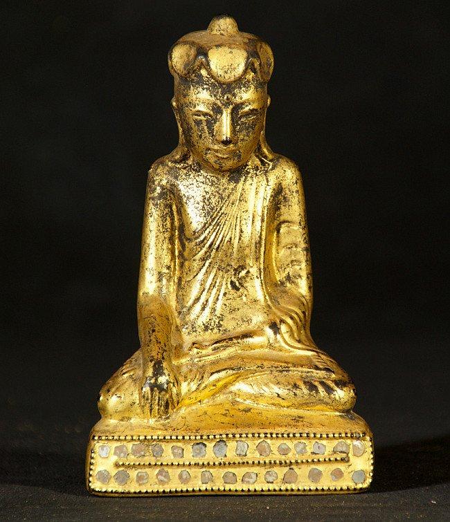 Antiek Birmees Shan Boeddhabeeld