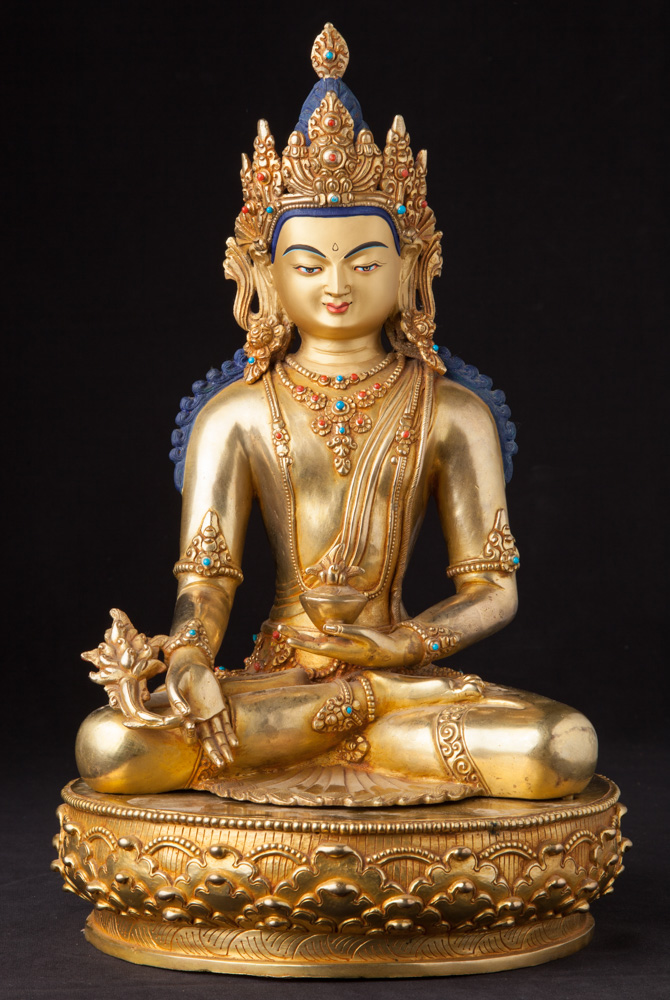 Newly made bronze Medicine Buddha statue from Nepal