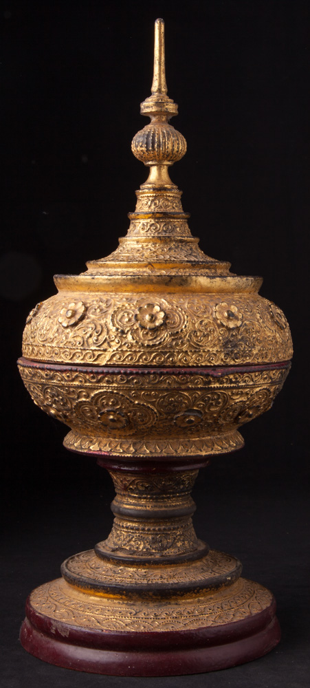 Antique gilded Burmese offering vessel from Burma made from Wood