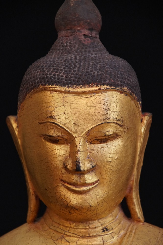 Antique Shan Buddha from Burma made from Wood