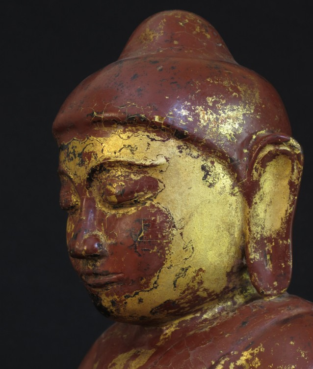 Antique sitting Buddha from Birma made from Wood