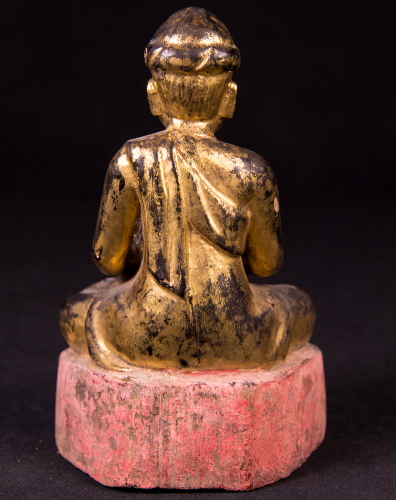 Antique wooden monk statue from Burma made from Wood