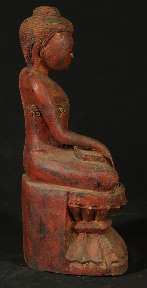 Wooden Buddha statue from Burma made from Wood