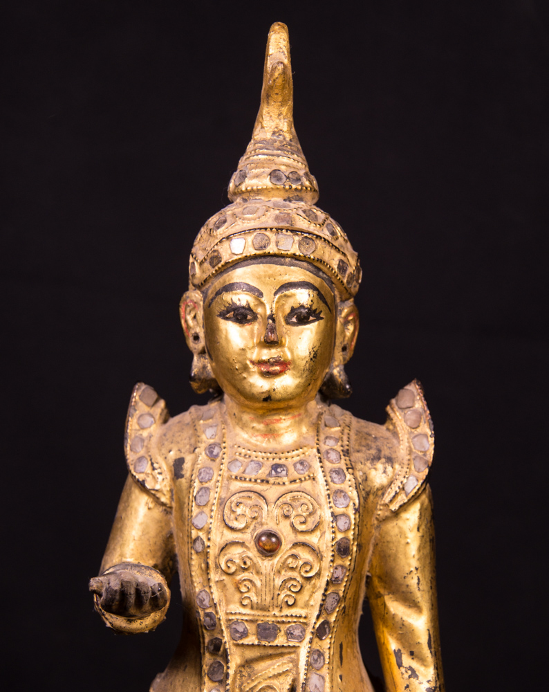 Antique wooden Nat statue from Burma made from Wood