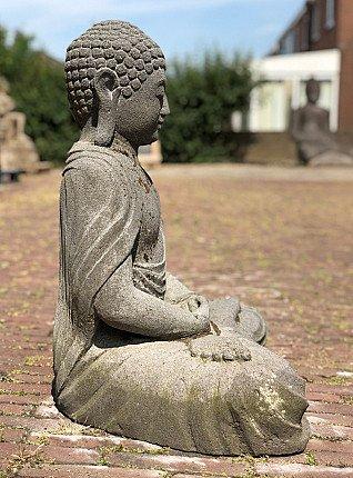 Meditating lavastone Buddha statue