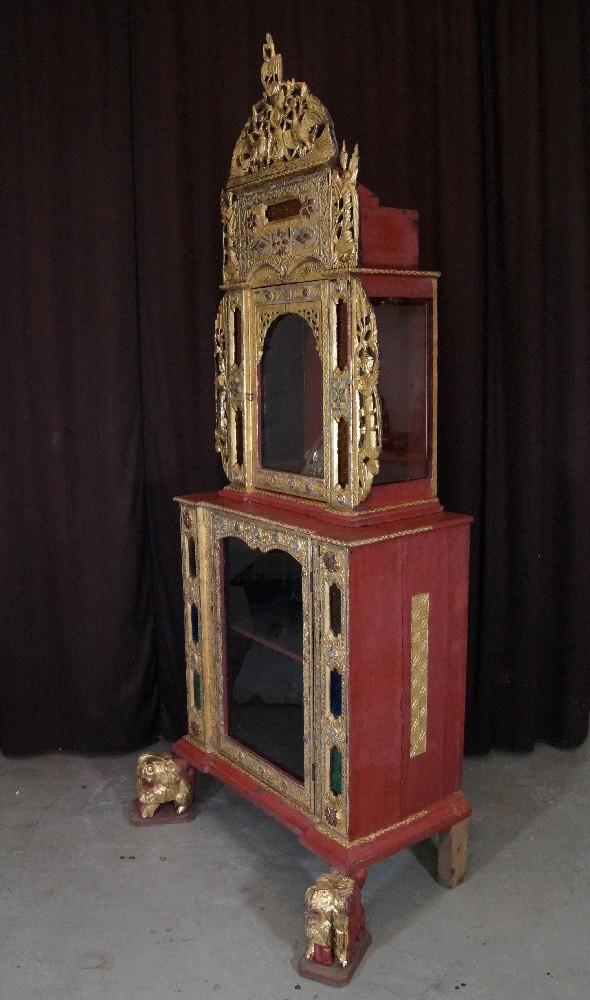 Antique Burmese Buddha Temple from Burma made from Wood