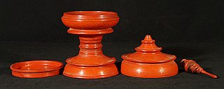 Old red laquerware offering vessel