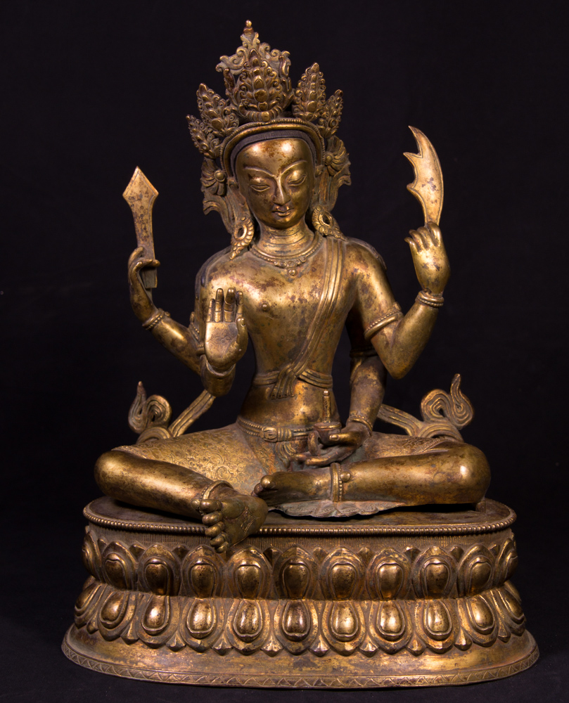 Old bronze Manjushree statue from Nepal made from Bronze