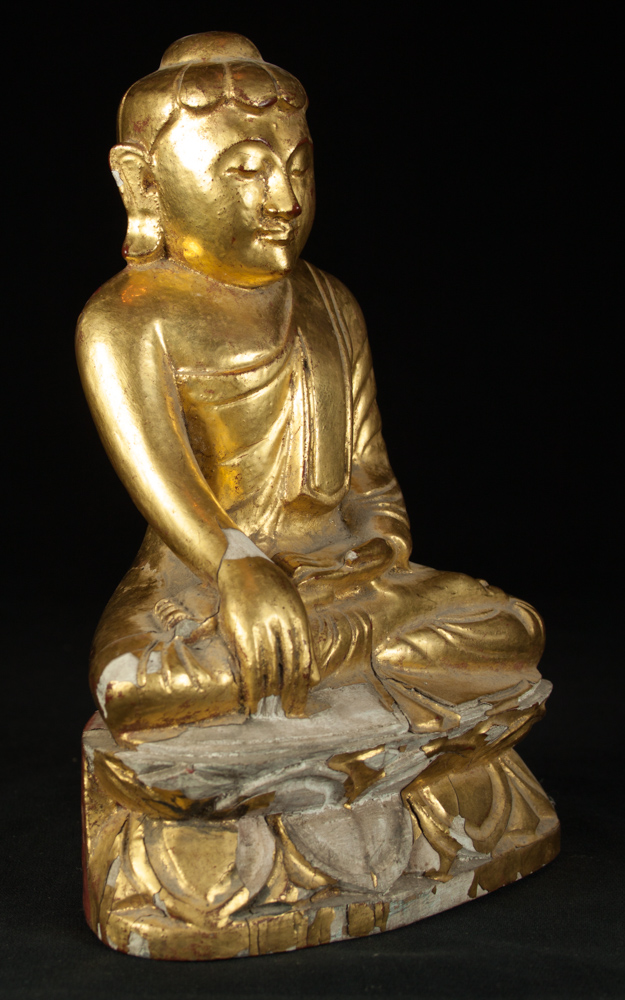 Old wooden Lotus Buddha statue from Burma made from Wood