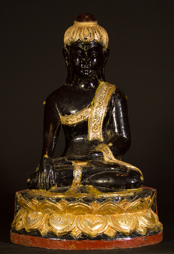 Old Burmese Lotus Buddha statue from Burma made from Wood