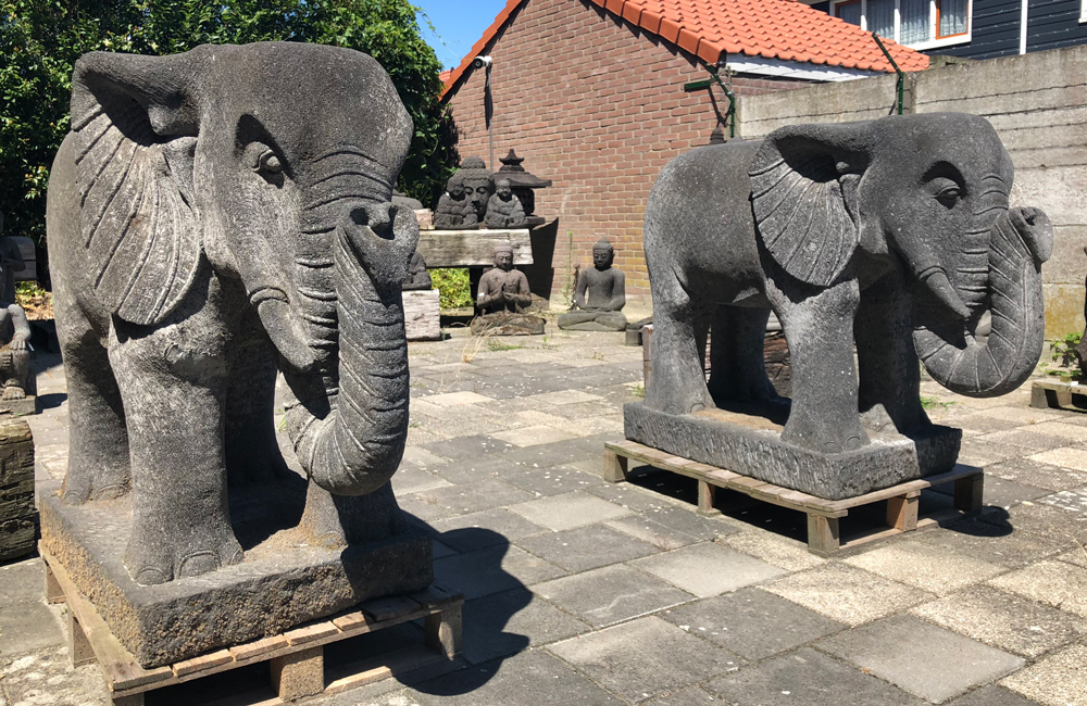 Large pair of lavastone Elephants from Indonesia made from Lavastone