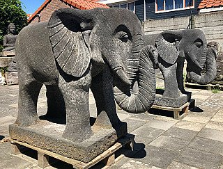 Large pair of lavastone Elephants