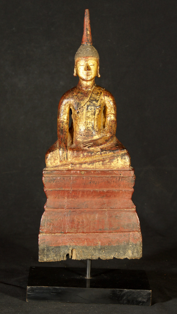 Antique wooden Laos Buddha statue from Laos
