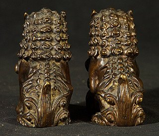 Pair of old bronze lions