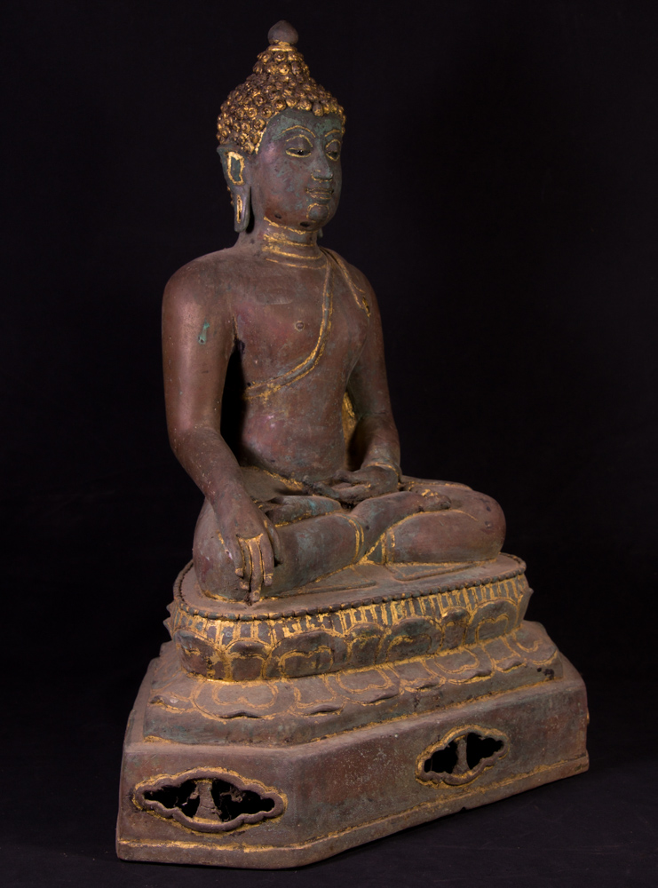 Old bronze Thai Buddha statue from Thailand made from Bronze