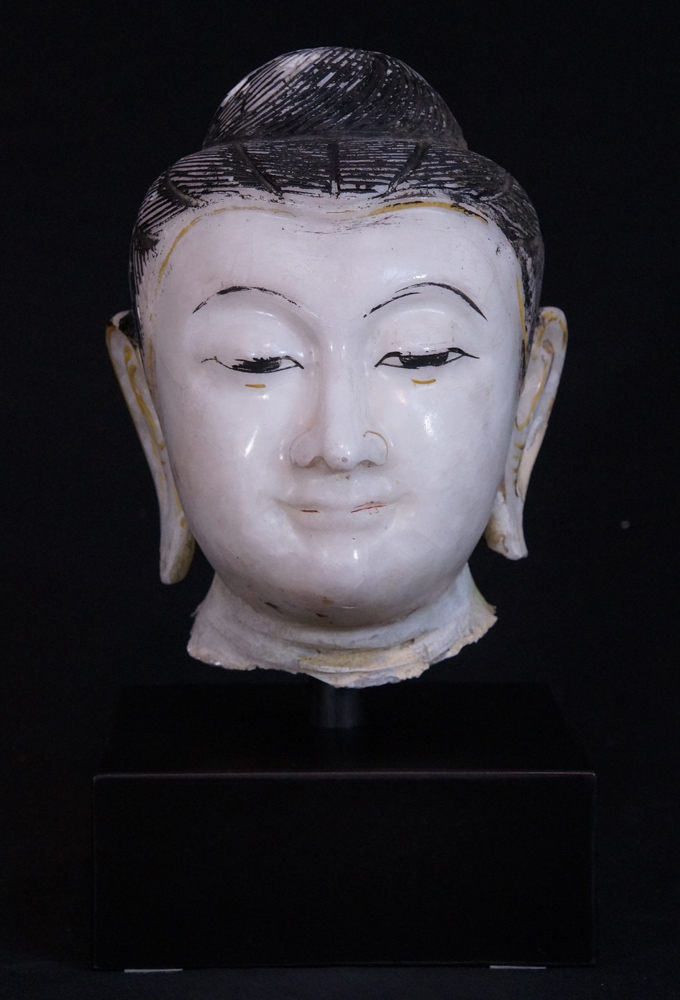 Antique marble Buddha head from Burma