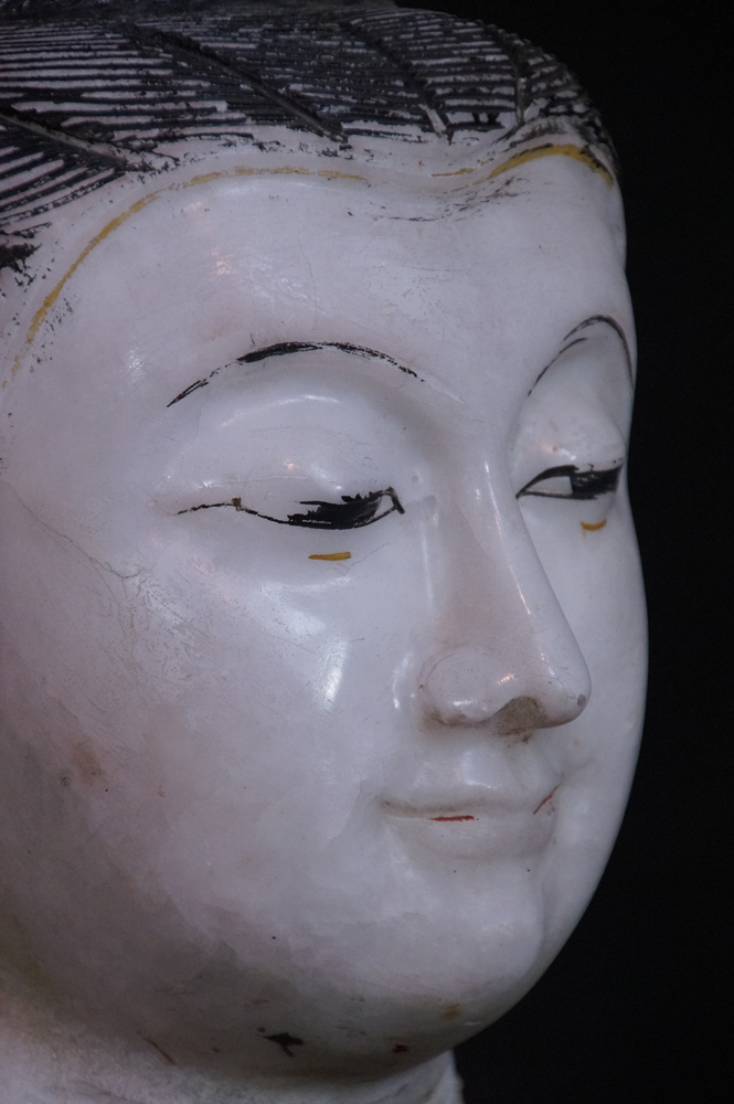 Antique marble Buddha head from Burma made from Marble