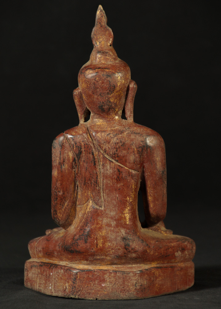 Old wooden Ava style Buddha statue from Burma made from Wood