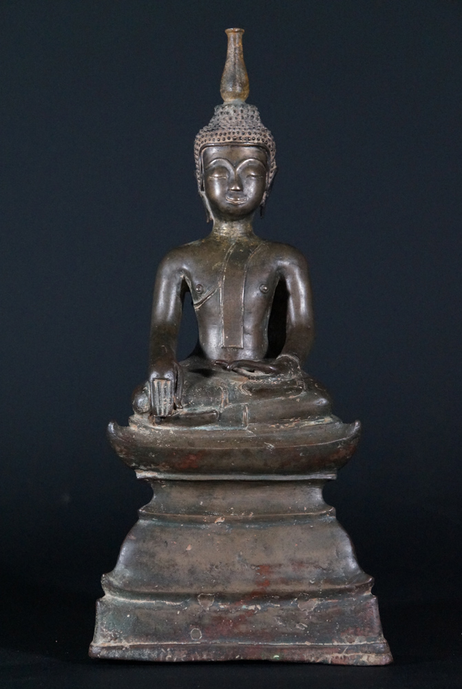 Antique Laos Buddha statue from Laos made from Bronze