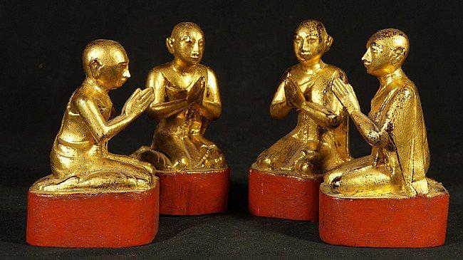 Set of antique monk statues