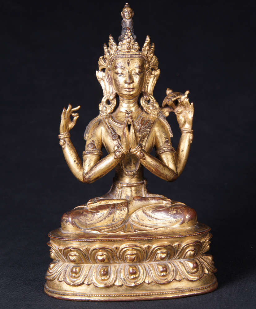 Very special antique Tibetan Avaloketishvara statue from Tibet