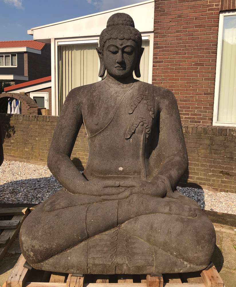 Large and special Lavastone Buddha statue from Indonesia made from Lavastone