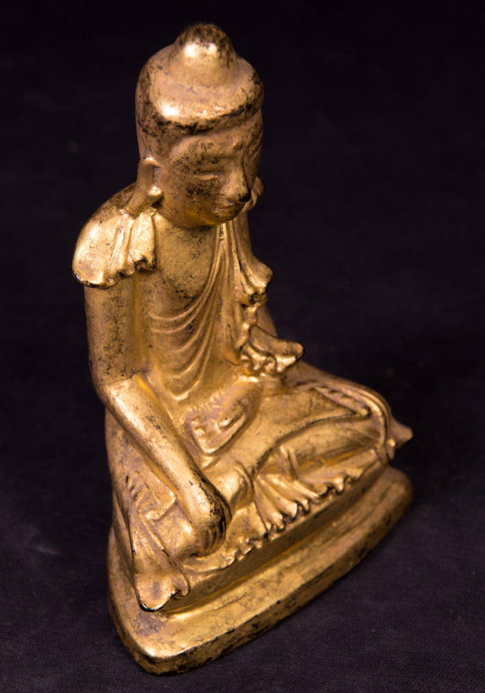 Antique Burmese Shan Buddha statue from Burma made from lacquer